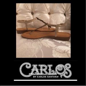 Carlos Santana Shoes - 🌹Carlos Santana Tenor Kork Glitter Feather Thong